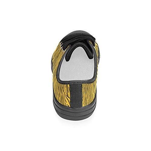 D-story Custom Gele Zebrastrepen Klassieke Damesschoenen Voor Dames (model 018)