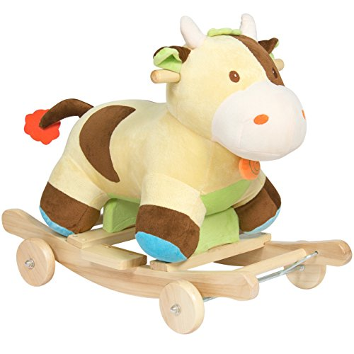 Best Choice Products Kids Ride On Plush Cow Animal Rocker W/ Wheels Children Toy Rocking Chair- Green/Brown