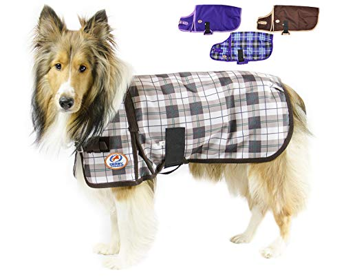 cuteNfuzzy Green Fawn Plaid Super Tough 1200D Dog Coat with Fleece Lining with 2 year limited warranty, X-Large