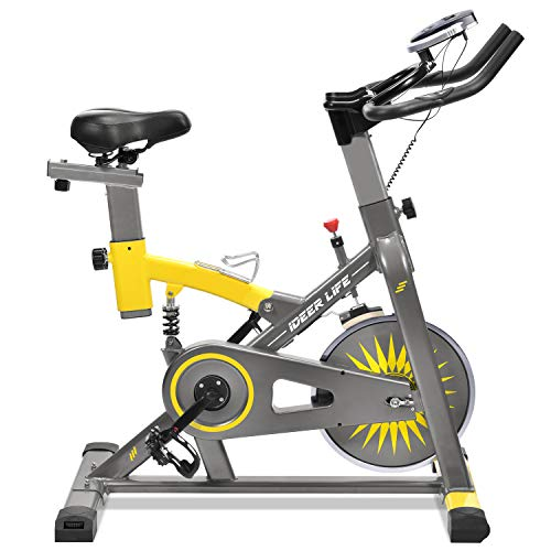 IDEER LIFE Exercise Bike Indoor Cycling Stationary Bike for Home Sport Workout,Adjustable Sport Exercise Bike for Home Indoor Cardio,w/Pulse Sensor&LCD Monitor,Max Capacity:330lb (Metallic Grey)