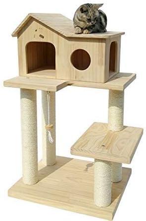 Ldlms Suministros para Mascotas Sólido Gato de Madera Marco de Escalada Gato Grande Arena sisal Gato rascarse Columna Gato árbol Gato Gato Gato Plataforma de Salto: Amazon.es: Hogar