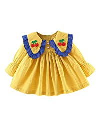 DKmagic Toddler Baby Girls Ruffles Ruched Ribbons Bow Dresses Casual Clothes