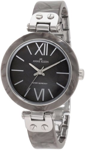 Anne Klein Women's 10/9653GMGY Grey Marbleized Resin Bangle Silver-Tone Watch