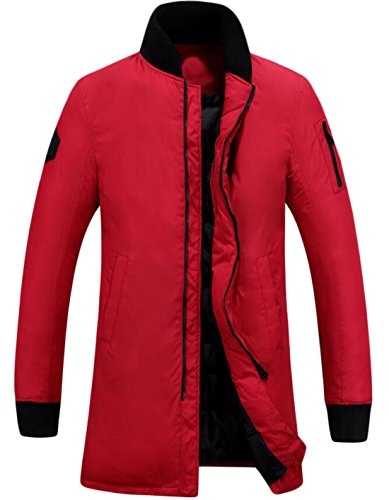 EKU Men's Sport Mid-Long Stand Collar Warm Down Jackets Red US 3XL