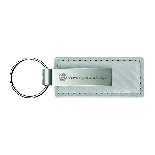 University of Pittsburgh-Carbon Fiber Leather and Metal Key Tag-White