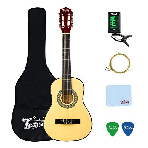 Trendy Classical Guitar Nylon Strings Natural 30 Inch 1/2 Size Acoustic Guitar with Gig Bag, Tuner, Strings, Strap,and Polishing Cloth (1/2 Size-Natural)