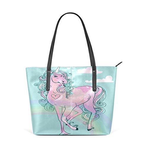 COOSUN Rosa Cartoon Märchen Einhorn PU Leder Schultertasche Handtasche und Handtaschen Tasche für Frauen