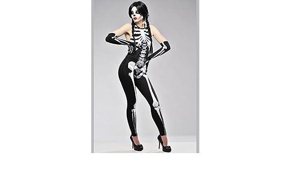 Traje de niño esqueleto Halloween para mujer Small (UK 8-10 ...