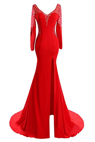 Long Beaded Sleeves Women's Mermaid Prom Dress Bridal Bess V Evening Split Red Neck 0RnYqgx