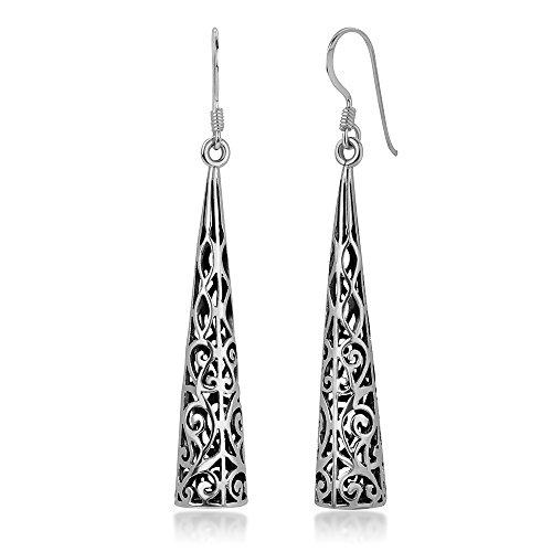 Earring Swirl Sterling Open - 925 Oxidized Sterling Silver Bali Inspired Open Filigree Puffed Triangle Dangle Hook Earrings 2