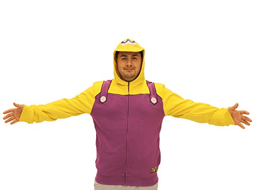 Wario Costume Adults (Nintendo Men's Wario Adult Costume Hoodie, Purple/Yellow,)