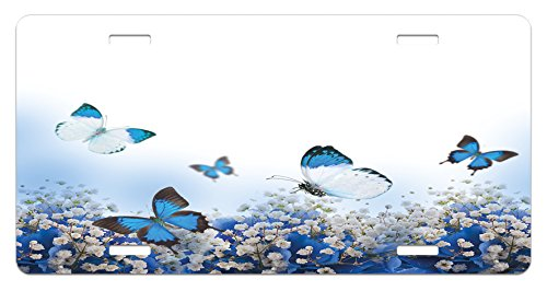 Light Blue License Plate by Lunarable, Blue Hydrangeas and Butterflies Rural Scenery Freshness Spring Yard Garden, High Gloss Aluminum Novelty Plate, 5.88 L X 11.88 W Inches, Blue Black White (Hydrangea Butterfly)