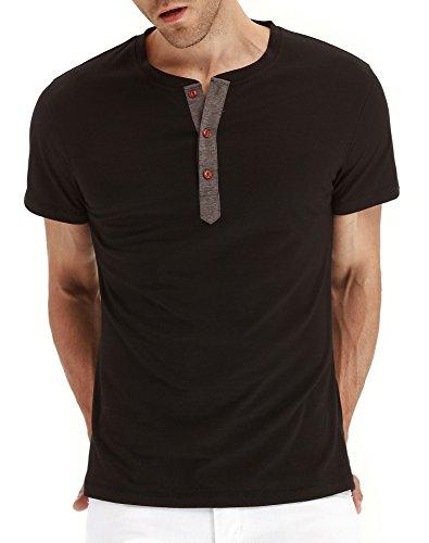 PEGENO Men's Casual Slim Fit Short Sleeve Henley T-shirts Cotton Shirts Black-US S