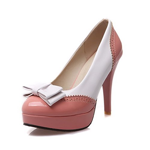 VogueZone009 Women's High-Heels PU Pull-on Round Closed Toe Pumps-Shoes Pink 5IyD3avI