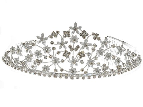 Miss America Costume Sash (SC Rhinestone Crystal Prom Bridal Wedding Silver Tiara Crown With Flowers)