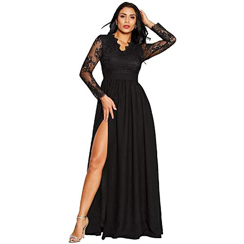 Vcegari Womens V-Neck Lace Long Sleeve Side Split Floor Length Black Party Prom Maxi Dress