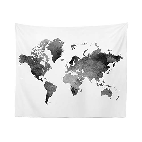 Watercolor Black World Map Tapestry Wall Hanging Maps Global White Tapestries Dorm Room Bedroom Decor Art – Printed in the USA – Small to Giant Sizes