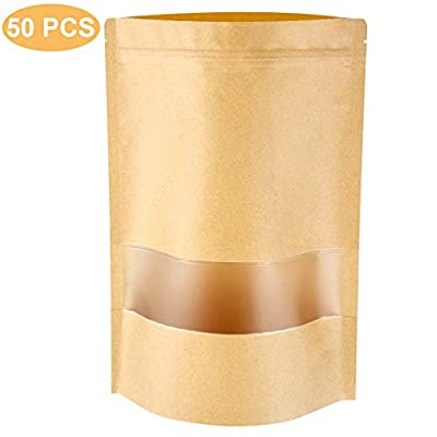 Blisstime Stand Up Pouch Bags, 50 Pack Kraft Pouch with Tear Notch and Matte Window, Heat Sealable Zip Lock Food Storage Bag