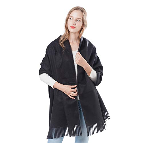 Black Cashmere Scarfs for Women Men Soft Pashminas Shawl and Wraps Large Stole Blanket with Gift Box (1-Black) (Dress Up Women Boots)