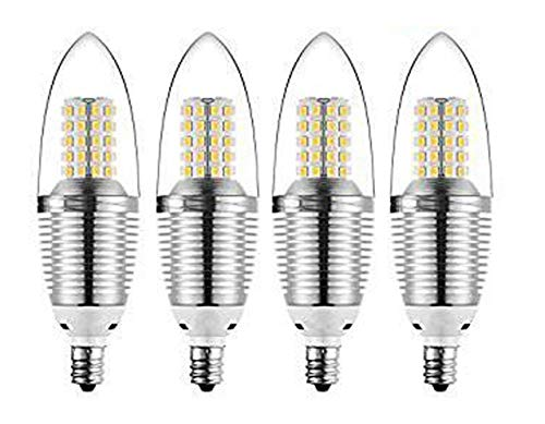 CTKcom 12W E14 LED Bulb Candelabra LED Light Bulb(4 Pack)- E14 LED Candle Bulbs Warm White 3000K,85-100 Watt Light Bulbs Equivalent,Candle Light Torpedo Shape,AC 110V 1200LM LED Lights Bright White