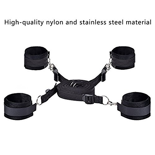 Adjustable Fuzzy Furry Handcuffs Rëstrâînts Under The Bed Straps Set Kit with Soft and Comfortable Wrist Ankle Cuffs for Women, Black ()
