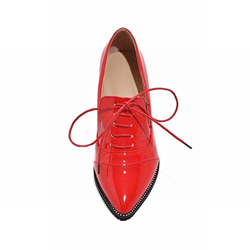 Latasa Womens Fashion Pointed-Toe Mid Chunky Heel Lace up Oxford Shoes Red zvO539sTeE