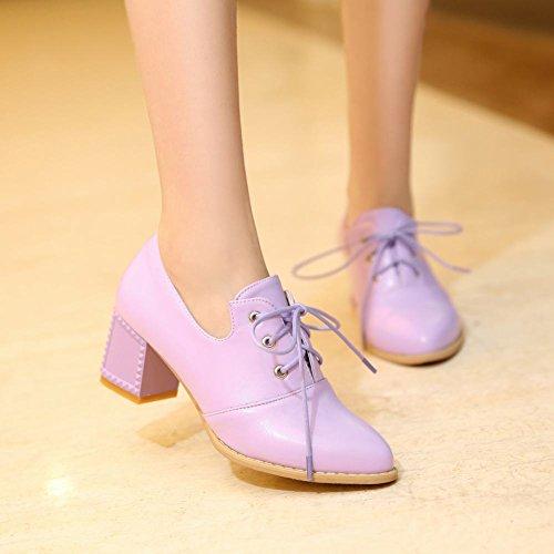 Latasa Mujeres Cute Chunky Heel Oxford Zapatos Purple