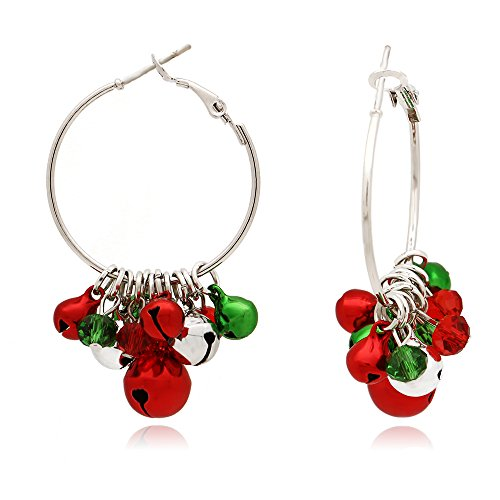 - C&L Accessories C&L SilverTone Multi-Colored Christmas Jingle Bells Hoop Earrings for Women Grils