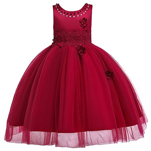 The Fairy Christmas Baby Girls Princess Dress Kids Wedding Party Dresses Toddler Children Clothing Embroidery Flower Ball Gowns,Xd329-Winered,4T]()