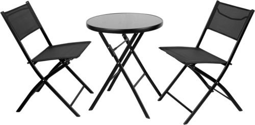 23.75'' Round Tempered Glass Metal Outdoor Table Set with 2 Textilene Fabric Folding Chairs by Belncik