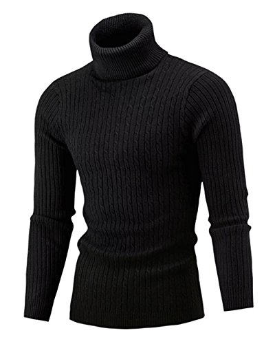 (Cameinic Men's Casual Slim Fit Turtleneck Pullover Sweaters Black)