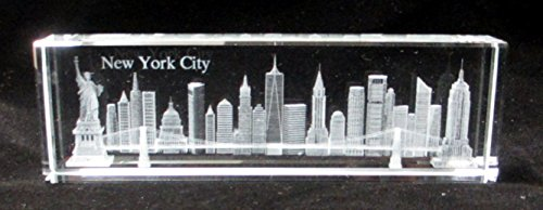 New York Souvenir NYC Skyline 3D Crystal Laser Etched Glass Paperweight 5