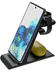 Elobeth Wireless Charger Stand Compatible with Samsung Wireless Fast Charger Galaxy Watch 42mm/46mm/Active2/1 Gear S3/S2/Sport Galaxy S20/S10/Note10/9/Buds pro Qi-Certified Phone Only for Galaxy Watch (Charger Adapter NOT included)