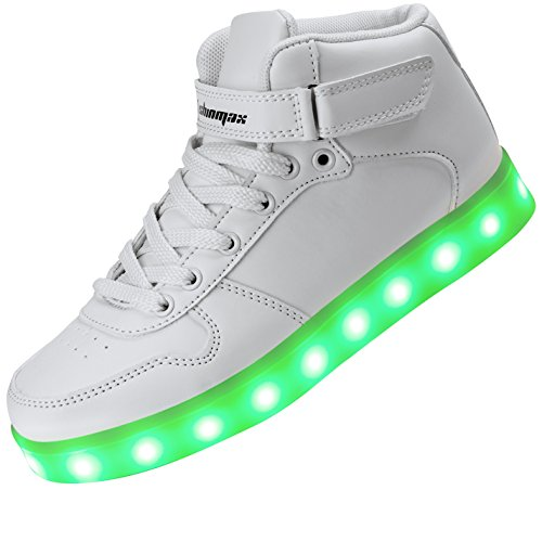 Shinmax Fille ChaussuresLED Homme on Femme Couleur Unisexe LED CE Chaussure avec Gar pour Lumineuse USB 7 hi Chaussure Clignotants Basket Charge Chaussures Sports Certificat Blanc LED rRaqT5wr
