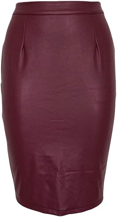 Haobing Falda Tubo de Color Liso para Mujer Oficina por La Rodilla ...