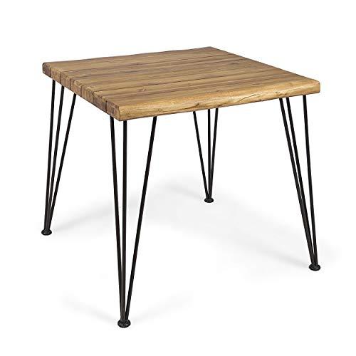 Great Deal Furniture 305369 Audrey Indoor Industrial Acacia Wood Dining Table, Teak Finish, Rustic Metal