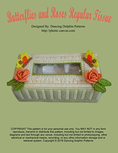 Butterflies and Roses Regular Tissue Box: Plastic Canvas - Yarn Canvas Chart