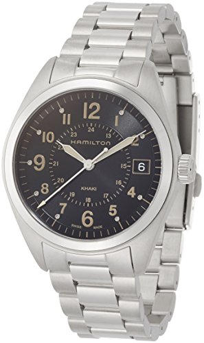Hamilton Men's 'Khaki Field' Swiss Quartz Stainless Steel Casual Watch, Color:Silver-Toned (Model: H68551133)