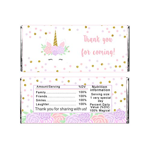 30 Candy Bar Labels Unicorn Face Gold Pink Purple Stickers Wrappers -