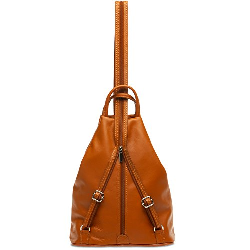 2 Backpack made in of Genuine Cognac Women CASPAR TL782 1 Leather City Shoulder Bag 46YRqwx