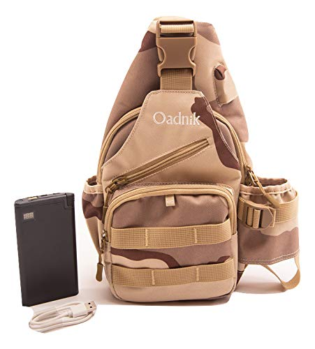 Sling Bag with Power Bank/Cross Body Backpack/Day Pack/USB Port/Men Women