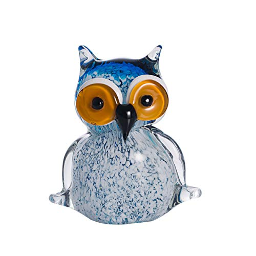 LONGWIN Hand Blown Art Glass Sculpture Glass Owl Animal Figurine Home Decoration Ornaments