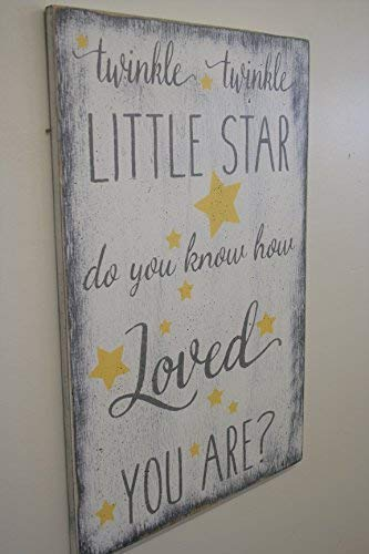 MaxwellYule Wood Nursery Sign Twinkle Twinkle Little Star Do You Know How Loved You are Wooden Plaque Sign Crafts for Living Room Decorative