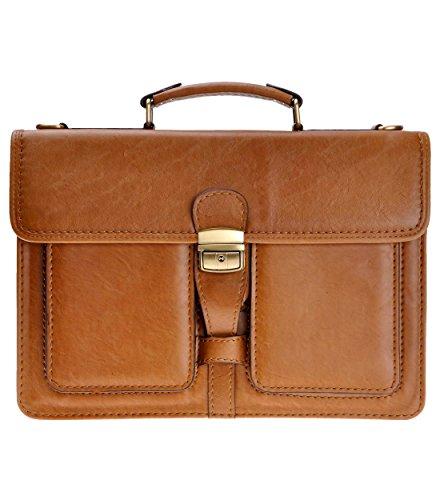 ZLYC Men PU Leather Laptop Messenger Shoulder Bag Business Briefcase Top Handle Handbag, Brown ()