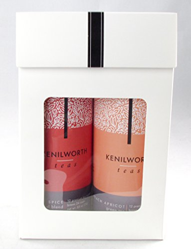 Kenilworth Teas Boxed Gift Set Twin Pack Tea Sachet Tins (Peach Apricot, Apple Spice) (Gift Baskers)
