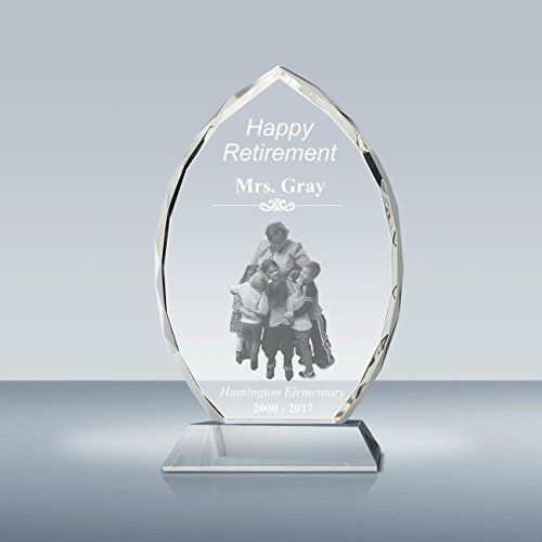 Goodcount.com Photo Crystal Oval Award & Plaque for Oustanding Employee, Pastor, and Teacher Appreciation, Custom Laser Engraved Picture and Text in Glass A00502, Made in USA ()