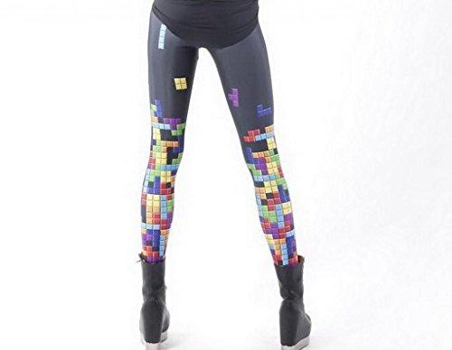 EOZY Women Spring Elastic Tetris Printed Fitness Silk Milk Leggings Black