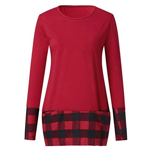 Casual Plaid Shirt lunga manica Fashion a Red Buttons Luckycat 1 Women Camicetta AzpwUqRxTx