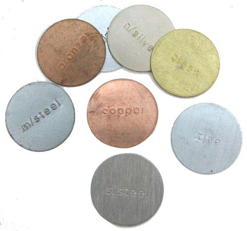 Metal 1 Disc Sample Pack. aluminum, bronze, brass, copper, n/silver (w/nickel), m/steel (mild: low