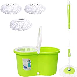 ALLWIN's Home Cleaning 360° Spin Floor Cleaning Easy Advance Tech Bucket Pvc Mop & Rotating Steel Pole Head With 3…